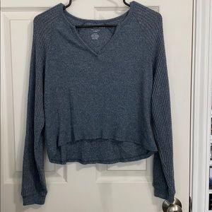 waffle knit cropped sweater